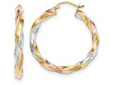 14k Tricolor Light Twisted Hoop Earrings style: TF655