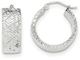 14k White Gold Diamond Cut Hoop Earrings style: TF657
