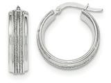 14k White Gold With Glitter Hoop Earrings style: TF663