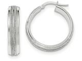 14k White Gold With Glitter Hoop Earrings style: TF664
