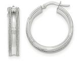 14k White Gold With Glitter Hoop Earrings style: TF665