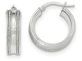 14k White Gold With Glitter Hoop Earrings style: TF666