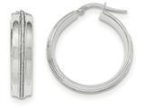 14k White Gold With Glitter Hoop Earrings style: TF667