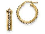 14k With Swarovski Elements Hoop Earrings style: TF668