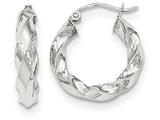 14k White Gold Light Twisted Hoop Earrings style: TF672
