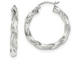 14k White Gold Light Twisted Hoop Earrings style: TF674