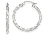 14k White Gold Satin Twisted Hoop Earrings style: TF676