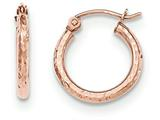 14k Rose Gold Light Weight Diamond Cut Hoop Earrings style: TF679