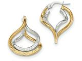 14k Two-tone Polished/textured Post Hoop Earring style: TF686