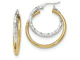 14k Two-tone Polished/textured Post Hoop Earring style: TF687