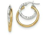14k Two-tone Polished/textured Post Hoop Earring style: TF688