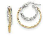 14k Two-tone Polished/textured Post Hoop Earring style: TF689