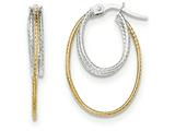 14k Two-tone Polished/textured Post Hoop Earring style: TF690