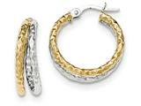 14k Two-tone Polished/textured Post Hoop Earring style: TF692