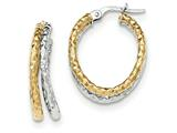 14k Two-tone Polished/textured Post Hoop Earring style: TF693