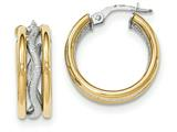 14k Two-tone Textured/polished Post Hoop Earring style: TF694