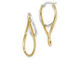 14k Two-tone Polished/textured Post Hoop Earring style: TF695