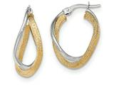 14k Two-tone Polished/textured Post Hoop Earring style: TF697