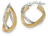14k Two-tone Polished/textured Post Hoop Earring style: TF698