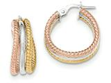 14k Tri-color Polished/textured Post Hoop Earring style: TF700