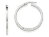 14k White Gold Polished/textured Post Hoop Earring style: TF703