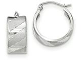 14k White Gold Satin Diamond Cut Hoop Earrings style: TF704