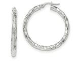 14k White Gold Polished/textured Post Hoop Earring style: TF705