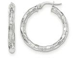 14k White Gold Polished/textured Post Hoop Earring style: TF706