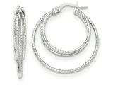 14k White Gold Polished/textured Post Hoop Earring style: TF707