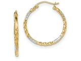 14k and Rhodium Bright Cut Twisted Hoop Earrings style: TF709