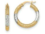 14k and Rhodium Textured/Bright-cut Post Hoop Earring style: TF711