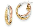 14k Tri-color Polished/diamond-cut Post Hoop Earring style: TF712