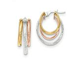 14k Tri-color Polished/diamond-cut Post Hoop Earring style: TF713