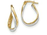 14k Two-tone Polished Twisted Oval Hoop Earrings style: TF714