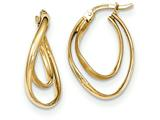 14k Gold Textured And Polished Oval Hoop Earrings style: TF716