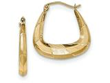 14k Polished, Satin And Diamond-cut Hoop Earrings style: TF719