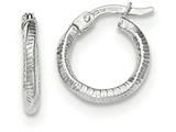 14k White Gold Textured And Polished Hoop Earrings style: TF721