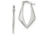 14k White Gold Textured And Polished Hoop Earrings style: TF726