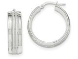 14k White Gold Textured And Polished Hoop Earrings style: TF728