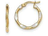 14k And Rhodium Textured And Polished Hoop Earrings style: TF729