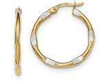 14k And Rhodium Textured And Polished Hoop Earrings style: TF730