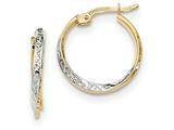 14k And Rhodium Textured And Polished Hoop Earrings style: TF731