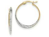 14k And Rhodium Textured And Polished Hoop Earrings style: TF732