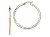 14k And Rhodium Textured And Polished Hoop Earrings style: TF733