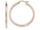 14k Rose Gold Light Weight Square Tube Hoop Earrings style: TF734