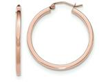 14k Rose Gold Light Weight Square Tube Hoop Earrings style: TF735