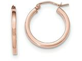 14k Rose Gold Light Weight Square Tube Hoop Earrings style: TF737
