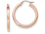 14k Rose Gold Light Weight Square Tube Hoop Earrings style: TF739