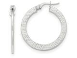 14k White Gold Polished/textured Large Post Hoop Earring style: TF740