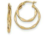 14k Gold Textured And Polished Circles Hoop Earrings style: TF741